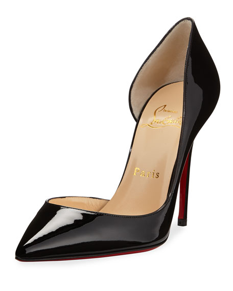 Christian Louboutin Iriza Patent Open-Side Red Sole Pump,