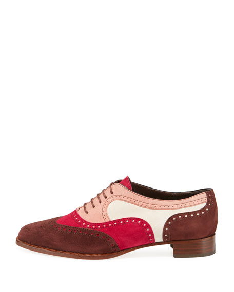 Magnesia Colorblock Suede Oxford Flat