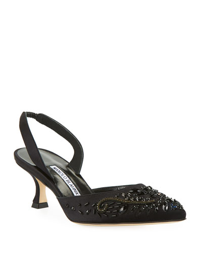 Carolyne Embroidered Satin Low-Heel Halter Pumps