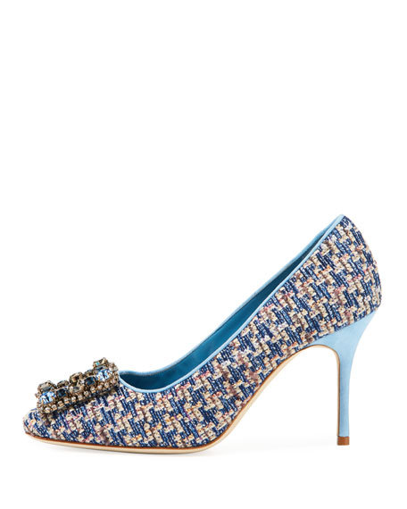 Vazza 90mm Tweed Pumps with Jeweled Buckle Embellishment