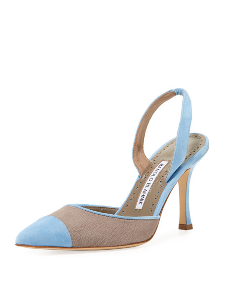 Manolo Blahnik Carolyne 90mm Calf Hair Halter Pumps