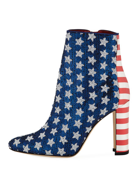 Nancy Sequined Stars & Stripes Flag Booties