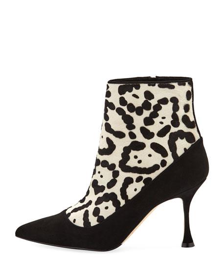 Dolorov Suede & Leopard-Print Calf Hair Booties