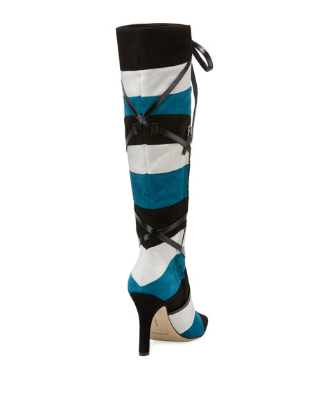 Borneoflo Pieced Suede Knee Boot