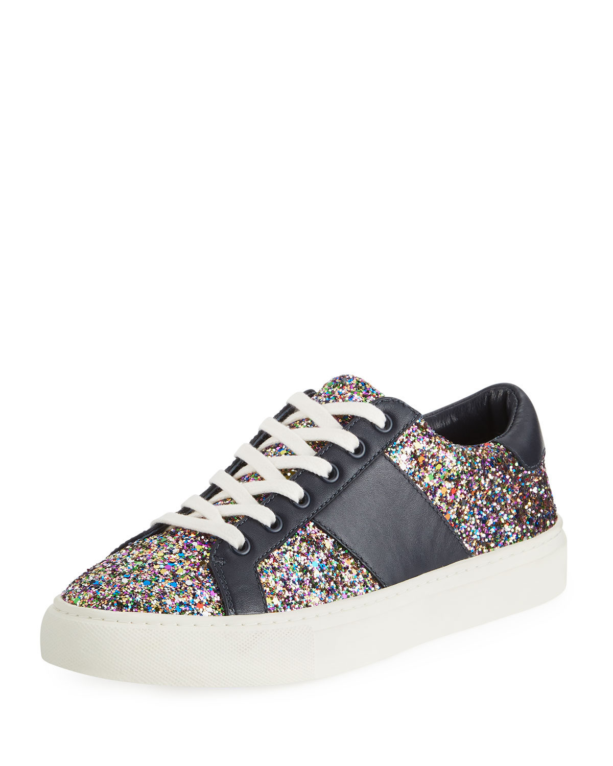 7caf391caa49 Tory Burch Carter Glitter Low-Top Lace-Up Sneakers
