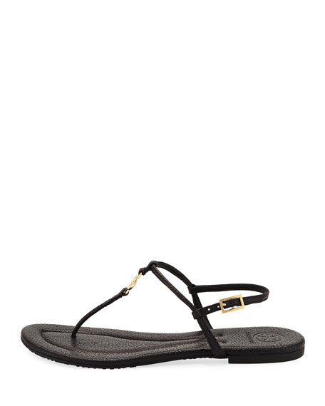 Emmy Flat Crackled Leather Sandal