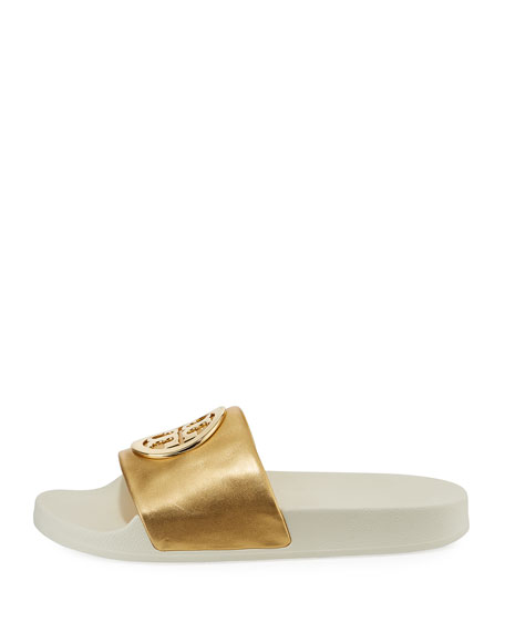 Lina Metallic Slide Pool Sandal