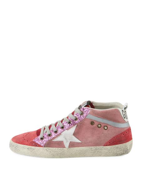 Mid-Top Star Glitter Sneaker, Pink/White