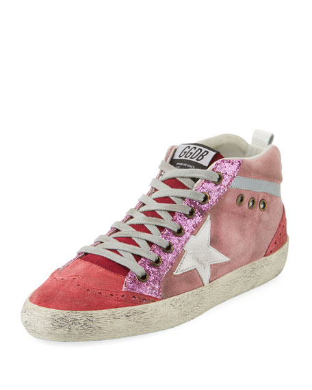 Golden Goose Mid-Top Star Glitter Sneaker, Pink/White