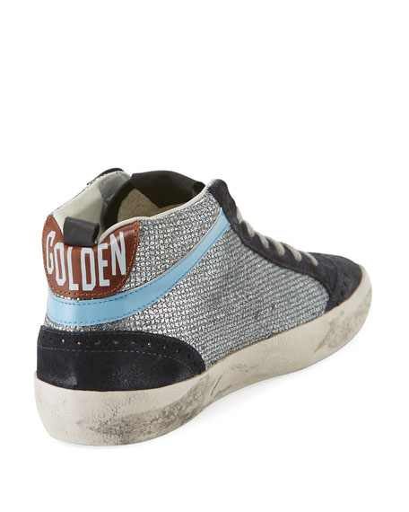 Mid-Top Star Glitter Sneakers, Black/Silver