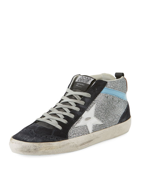 Golden Goose Mid-Top Star Glitter Sneaker, Black/Silver