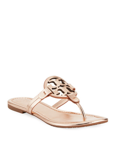 Miller Medallion Metallic Leather Flat Slide Sandal