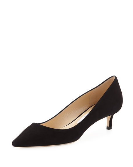 Romy Suede Low-Heel Pumps