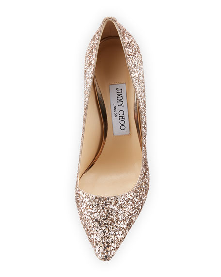 Jimmy Choo Romy 100mm Shadow Coarse Glitter Pointed-Toe Pumps