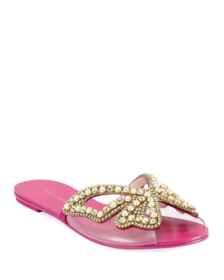 Sophia Webster Madame Embellished Butterfly Flat Slide Sandals