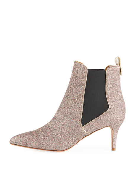Parker Glitter Metallic Leather Point-Toe Chelsea Booties