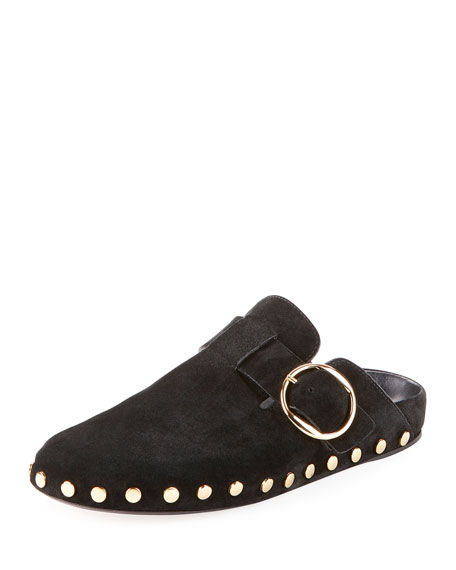 Flat Mirvin Studded Buckle Mule in Black