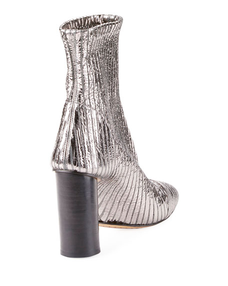 Rillyan Pleated Metallic Booties