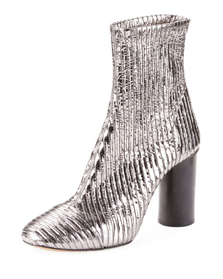 Rillyan Metallic Leather High-Heeled Ankle Boots, Fr40, Silver