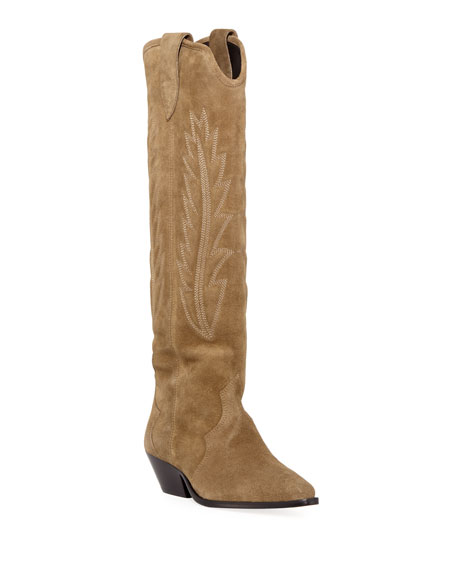 Denzy Point-Toe Western Knee Boot, Taupe