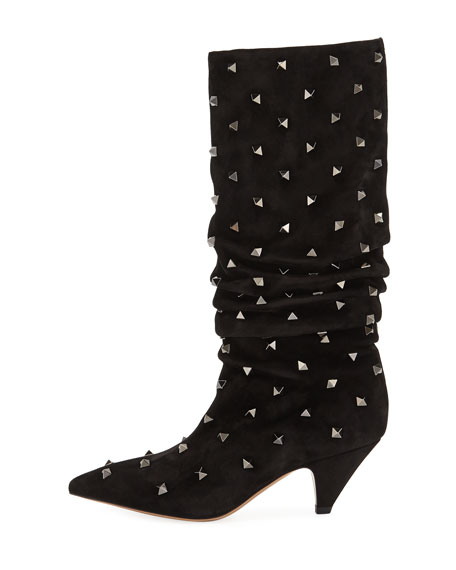 Rockstud Suede Scrunch Knee Boots