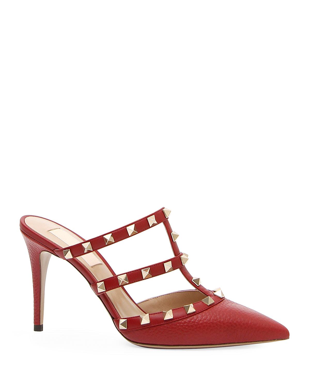 3abe555279e3 Valentino Garavani Rockstud Leather Mule Slide