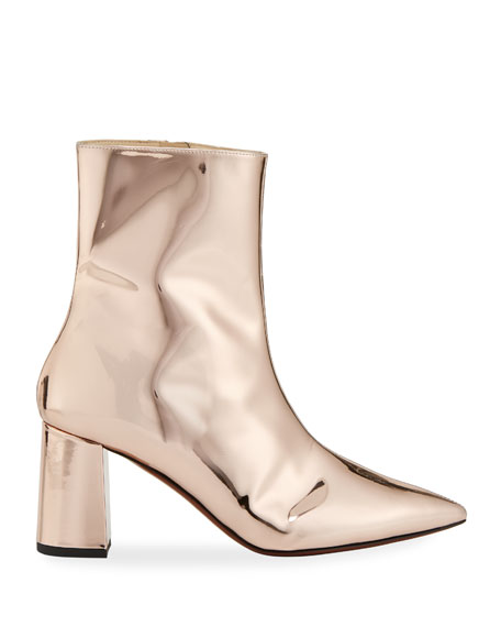 Metallic Patent Leather Bootie