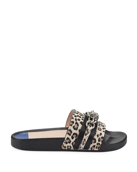 Cadena Leopard Chain Pool Slide Sandal