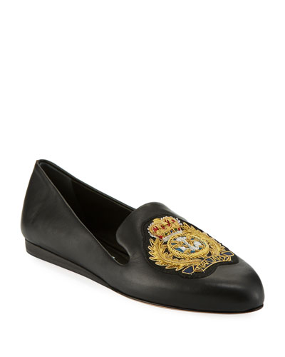 Griffin Patch Flat Napa Leather Slip-On Loafers