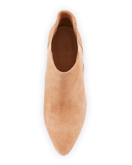 Gabija Stretch-Suede Cone-Heel Ankle Bootie