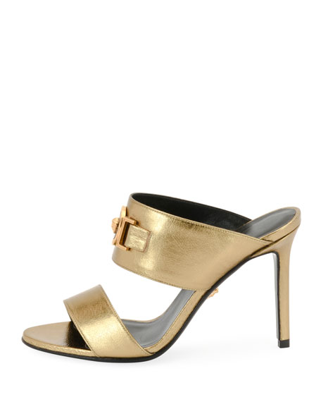Icon Medusa Metallic Leather Mule Slide Sandals