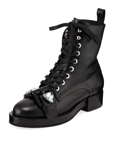Calf Leather Lace-Up Combat Boots