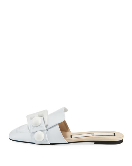 Buckle Calf Leather Flat Mules