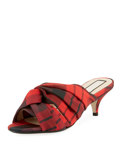 Knotted Printed Tartan Plaid Fabric Slide Sandals