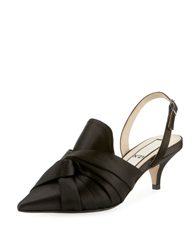 Knotted Satin Slingback Pumps