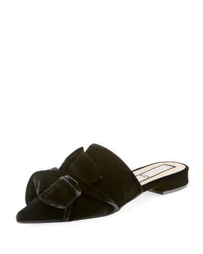 Velvet Pointed-Toe Flat Mules