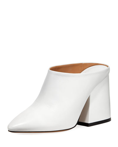 Calf Leather Pointed-Toe Block-Heel Mules