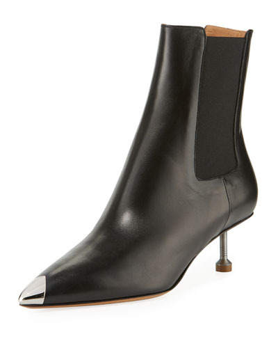 Pointed-Toe Leather Booties