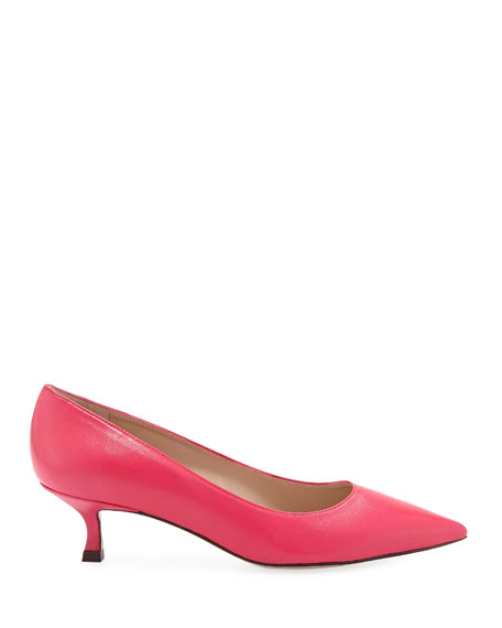 Tippi Low-Heel Leather Pointed-Toe Pumps