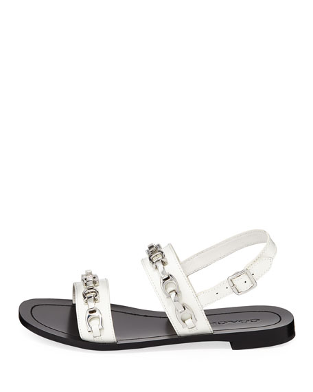 Eden Flat Logo-Chain Slingback Sandals