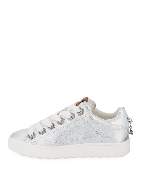 C101 Metallic Leather Low-Top Sneakers