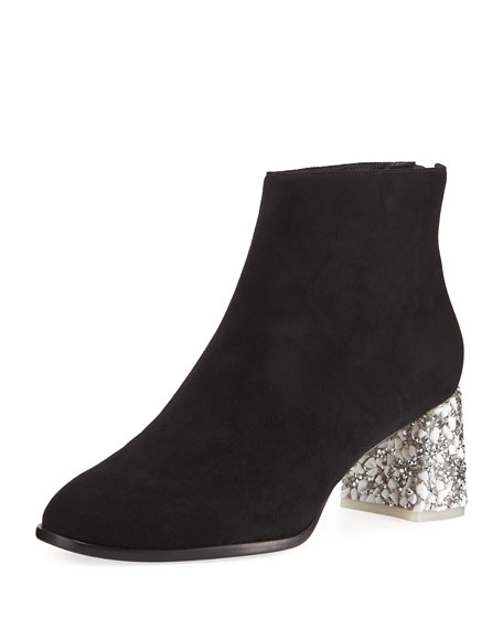 Stella Suede Encrusted-Heel Ankle Boots