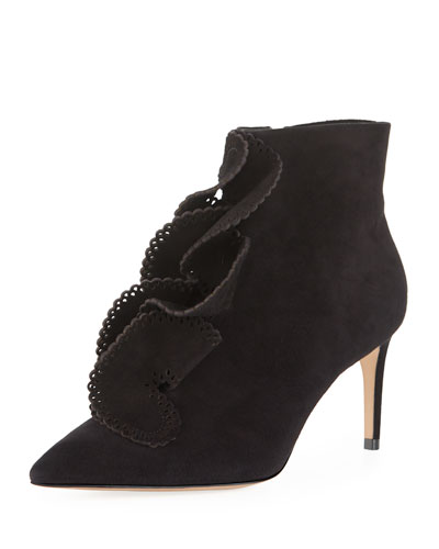 Soleil Mid-Heel Ruffled Ankle Boots