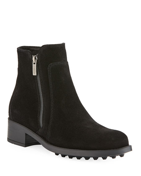 LA CANADIENNE Sydney Suede Zip Boots in Black