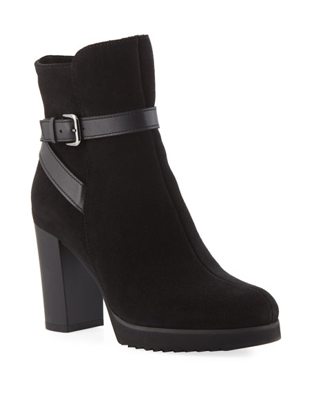 LA CANADIENNE Meadow Suede Platform Booties in Black Suede