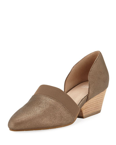 Hilly Demi-Wedge Metallic Suede Pumps