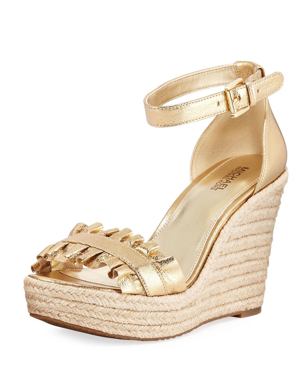 71fa2d113ba Bella Ruched Metallic Leather Wedge Sandal