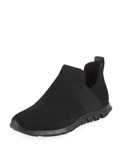 Zerogrand Suede Slip-On Sneakers, Black