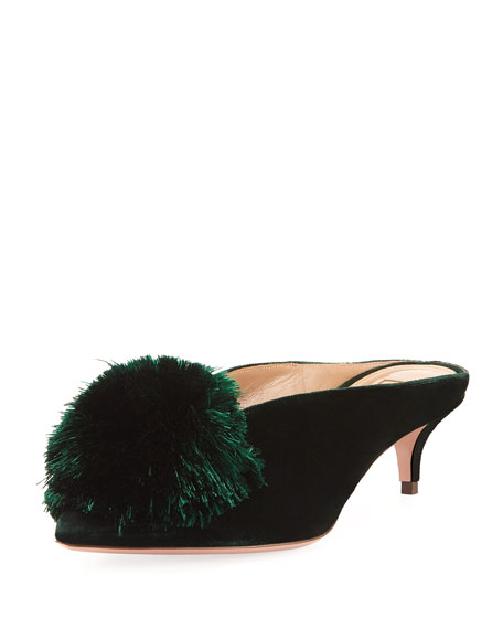 Powder Puff 45mm Velvet Pompom Mule by Aquazzura