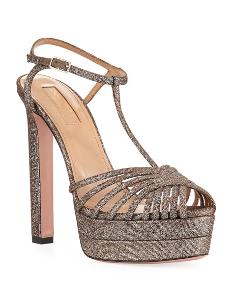 Aquazzura Moonlight Metallic Fabric Platform T-Strap Sandals